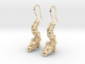 Aretes Quetzalcoatl in 14K Yellow Gold