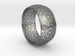 7cm Bracelet Flower Pattern Curved in Polished Silver