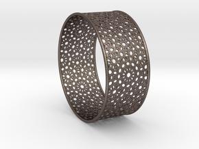 7cm Bracelet Flower Pattern Flat in Polished Bronzed Silver Steel
