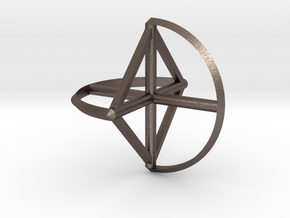 Wireframe Sphericon in Polished Bronzed Silver Steel