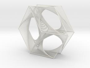 Hexagon Parabolic Curves Straight Lines in White Natural Versatile Plastic