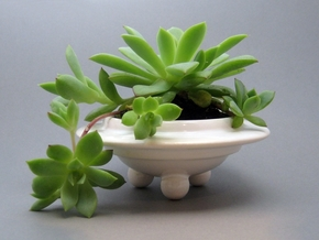 Planter - Porcelain UFO Succulent Planter  in Gloss White Porcelain