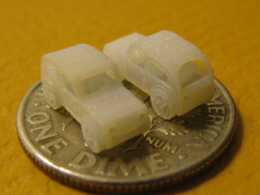 Pair of tiny micro cars with turning wheels in Smooth Fine Detail Plastic