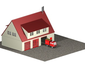 Feuerwache / Fire station (1:220) in White Natural Versatile Plastic