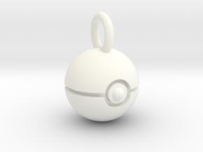 Pokeball pendant in White Processed Versatile Plastic
