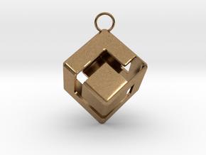 Gamecube Logo Pendant in Natural Brass
