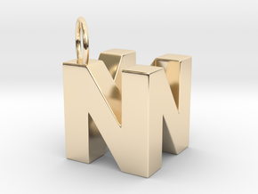 N64 Logo - SOLID in 14K Yellow Gold