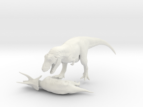 Dinosaur Tyrannosaurus VS Triceratops 1:72 in White Strong & Flexible