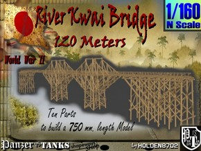 1-160 Bridge River Kwai 120 meters in White Natural Versatile Plastic