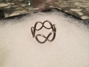 Infinity Ring (Sz 8) in Polished Bronzed Silver Steel