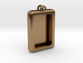 Rectangular Frame Pendant in Natural Brass