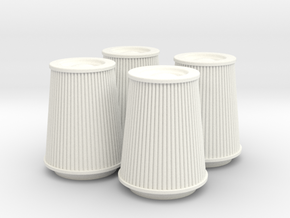 1/12 K&N Cone Style Air Filters TDR 5167 in White Strong & Flexible Polished