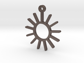 Sunny Day - Weather Symbol Pendant in Polished Bronzed Silver Steel