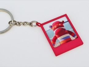 Polaroidesque Pendant / Keyring in Pink Strong & Flexible Polished