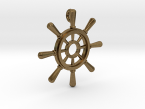 Ships Wheel Pendant in Natural Bronze