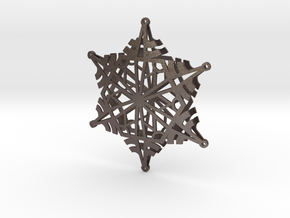 Arcs Snowflake - 3D in Polished Bronzed Silver Steel
