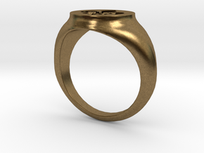 Signet Ring - Fleur De Lis in Natural Bronze