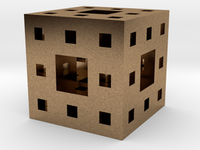 Menger Sponge Pendant in Natural Brass