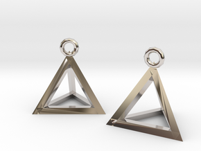Tetrahedron earrings #Silver in Platinum