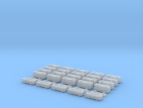 25 Weapon Crates for 6mm, 1/300 or 1/285 in Smooth Fine Detail Plastic