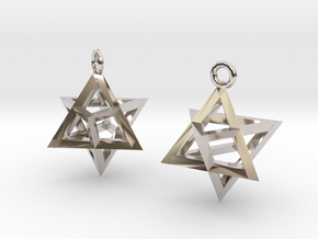 Star Tetrahedron earrings #Gold in Platinum