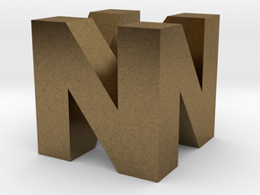 "N64 Logo - 2"" Cube Desk Object in Natural Bronze"