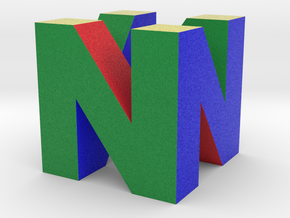 "N64 Logo - 2"" Cube Desk Object in Full Color Sandstone"