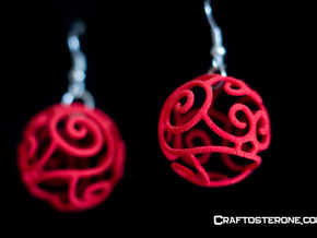 Filigree Sphere EARRINGS  in Red Strong & Flexible Polished