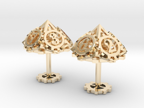Steampunk Gear Cufflinks in 14K Yellow Gold
