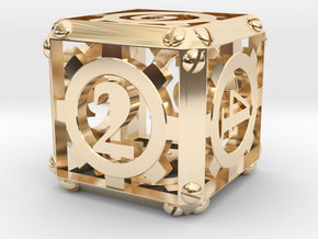 Steampunk d6 in 14K Yellow Gold