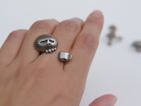 Coffee Drinker Ring - size 6.5 in Polished Bronzed Silver Steel