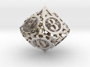 Steampunk Gear d10 in Platinum