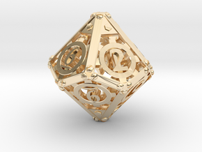 Steampunk d10 in 14K Yellow Gold