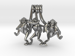 Three wise monkeys in Natural Silver