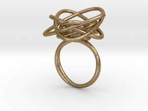 Sprouted Spiral Ring (Size 8) in Polished Gold Steel