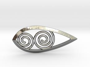 Tear Spiral Pendant in Fine Detail Polished Silver