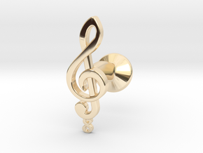 Tenor Treble Clef Cufflink (single) in 14K Yellow Gold
