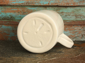 Hidden Sand Dollar Mug in Gloss White Porcelain