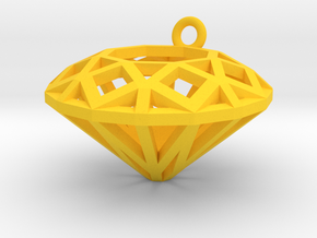 Diamond Charm  in Yellow Processed Versatile Plastic