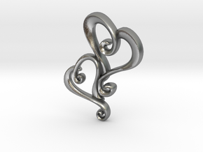 Swirly Hearts Pendant/Keychain in Natural Silver