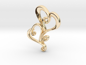 Swirly Hearts Pendant/Keychain in 14K Yellow Gold