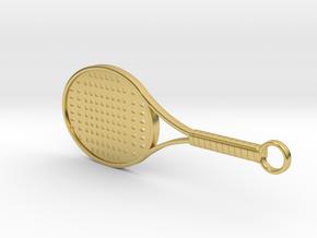 Tennis Racket Keychain in Polished Brass