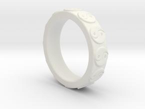 Yin Yang Ring - EU Size 62 in White Natural Versatile Plastic