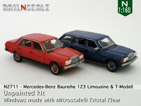 SET 2x Mercedes-Benz W123 (N 1:160) in Smooth Fine Detail Plastic