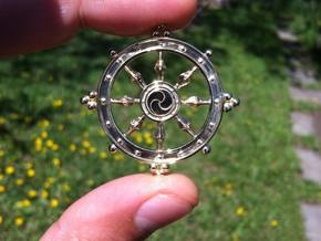 Wheel of Life Pendant - Dharmachakra in Polished Brass