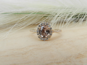 Tube Halo Engagement Ring in 14K Yellow Gold