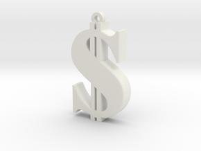 Dollar Pendant in White Natural Versatile Plastic