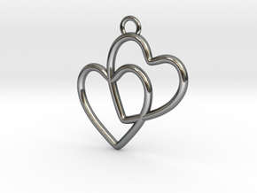 Two Hearts Connected in Fine Detail Polished Silver