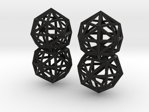 Disdyakis Icositetrahedron Earrings in Black Natural Versatile Plastic