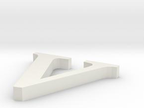 Letter- v in White Natural Versatile Plastic